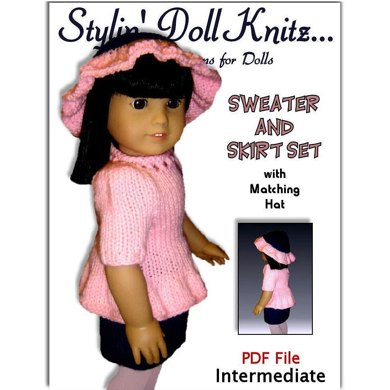 Knitting Pattern, Sweater and skirt set, fits American Girl and all 18 inch dolls 020