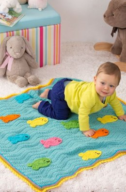 School of Fish Blanket in Red Heart Super Saver Economy Solids - LW4142