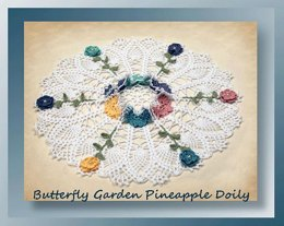 Butterfly Garden Pineapple Doily 0757