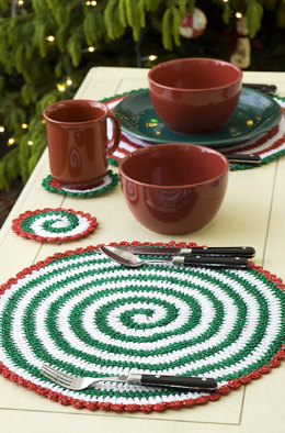 Pinwheel Place Setting & Garland in Red Heart Holiday - LW1898EN - Downloadable PDF