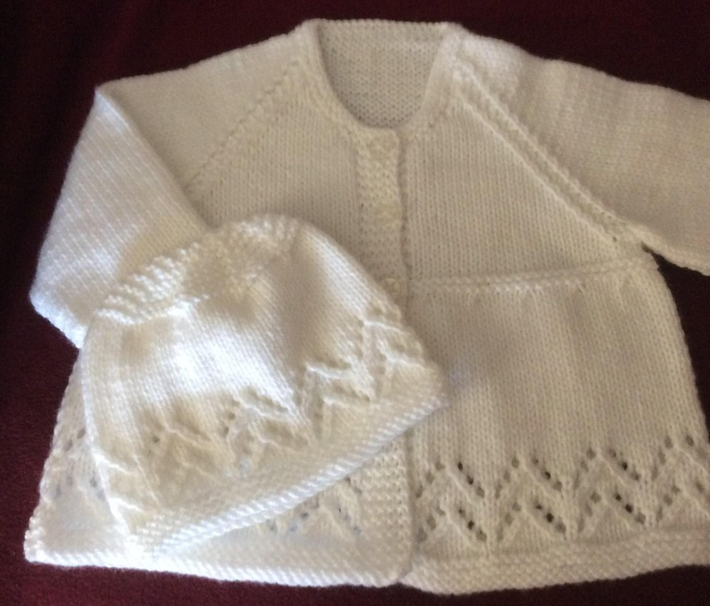 Lacy Chevron Matinee Jacket Toque In Rico Baby Classic Dk