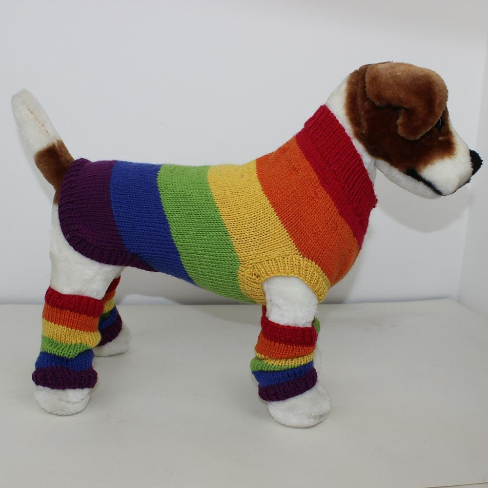 Rainbow Dog Coat and Legwarmers Knitting pattern by madmonkeyknits