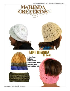 Cape Beanies In Rows Knitting pattern by Marinda Creations 2c650a8d29c
