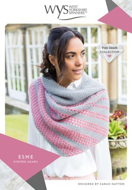 Esme Striped Shawl in West Yorkshire Spinners Wensleydale Gems Hanks - WYS90998