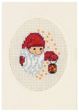 Permin Elf with Lamp Card Cross Stitch Kit - Multi