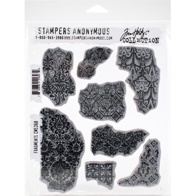 """Stampers Anonymous Tim Holtz Cling Stamps 7""""X8.5"""" - Fragments"""