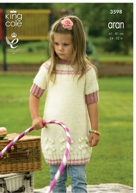 Dress and Cardigan in King Cole Big Value Aran - 3598