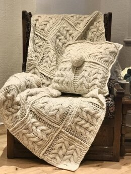 Cable Squares Afghan and Cushion Cover