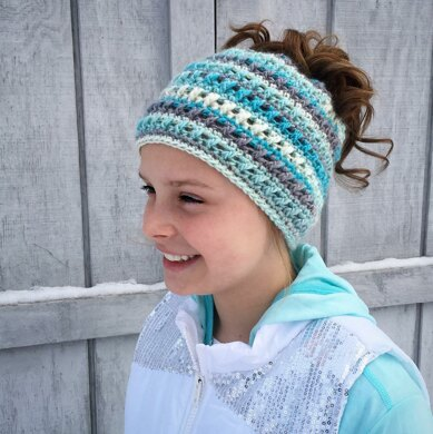 Criss Cross Ponytail or Messy Bun Hat Crochet pattern by Crochet by ... 579046718da0