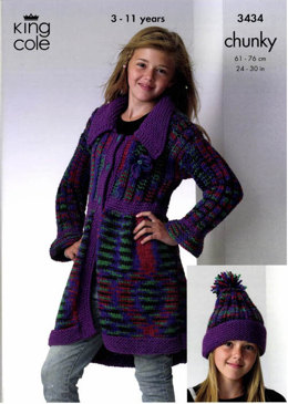 Coat, Sweater and Hat in King Cole Magnum Chunky -