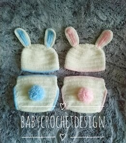 Easter Bunny Hat and Diaper cover
