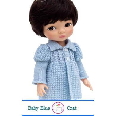 Baby Blue Coat for 16 inch Animators dolls, Doll Clothes  Knitting Pattern.