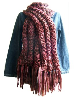 Chunky Cable Effect Scarf with Hat, Fingerless mittens and Bangle Variations