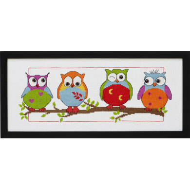 Permin Owls Cross Stitch Kit - 36x15cm