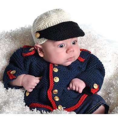 Baby Boy Dress Blues Cardigan and Hat
