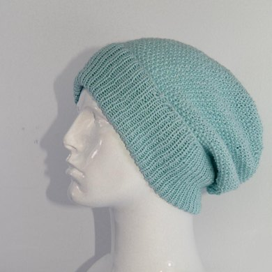 4 Ply Unisex Moss Stitch Slouch Hat CIRCULAR