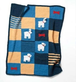 Knit Puff Doggy Blanket in Lion Brand Wool-Ease