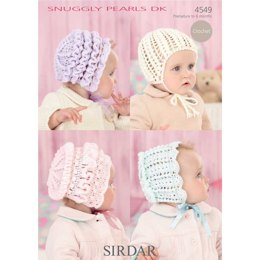 Baby's Bonnets And Helmet in Sirdar Snuggly Pearls Dk - 4549