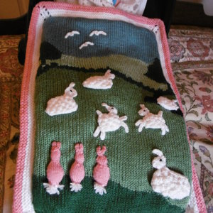 Lambs Amp Lullabies Pram Or Cot Cover Knitting Pattern By