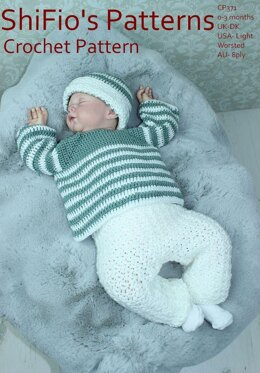 Crochet pattern baby jumer/sweater, trousers and hat UK & USA Terms #371