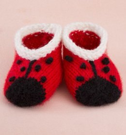 Sweet Lady Bug Booties in Red Heart Anne Geddes Baby - LW3346