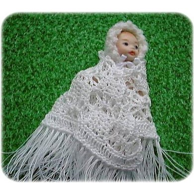 1:12th scale open lace baby shawl