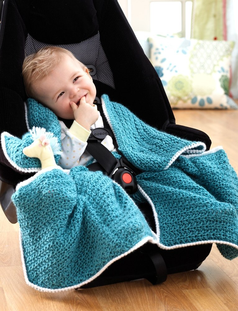 Car Seat Blanket In Bernat Softee Baby Solids Crochet