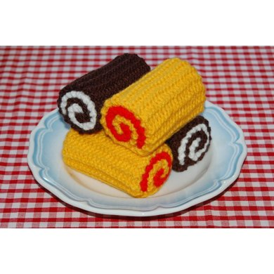 Knitting Pattern for Chocolate / Swiss Rolls / Cakes - Knitted Kitchen