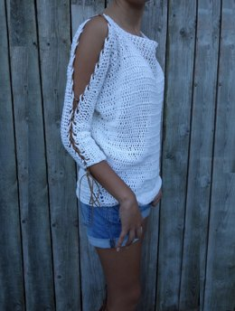 Laced Up Sleeves Sweater