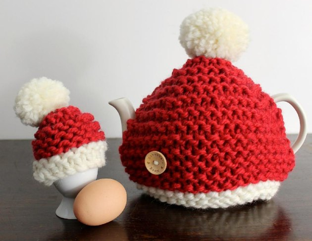 Santa Hat Tea Cosy & Egg Cosy Knitting pattern by Rebeccas Room Kn...