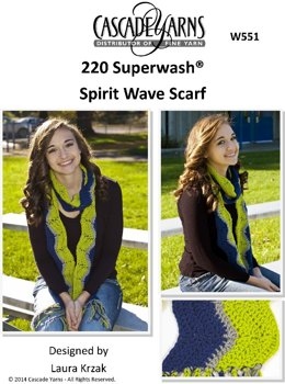 Spirit Wave Scarf in Cascade 220 Superwash - W551
