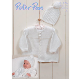 Cable Edged Jacket and Hat in Peter Pan DK 50g - 1176