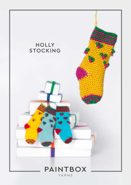 """Holly Stocking"" - Stocking Crochet Pattern For Christmas in Paintbox Yarns Simply DK - DK-XMAS-CRO-002"