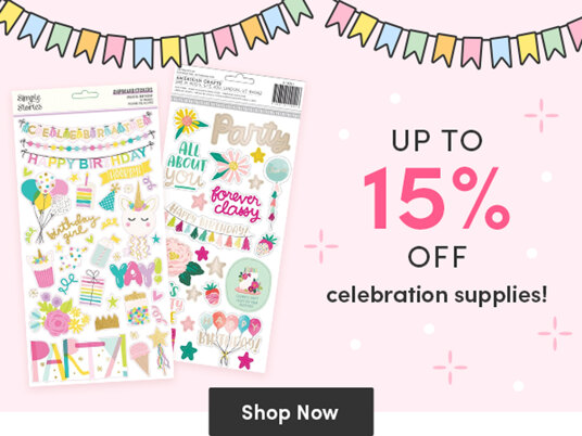 Up to 15 percent off celebration supplies!