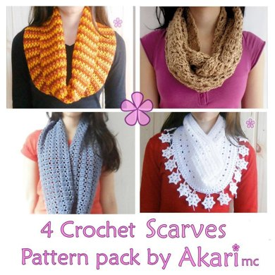 Four Crochet Circle Scarves Patterns Crochet Pattern By Akari