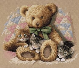 Dimensions Teddy and Kittens Cross Stitch Kit - 36cm x 30cm