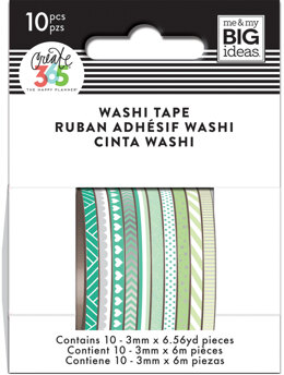 Me & My Big Ideas Happy Planner Mini Washi Tape 3mmx6.56yd Each 10/Pkg - Green Hues