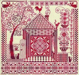 PANNA The Russia House in Redwork Cross Stitch Kit - 30cm x 30cm