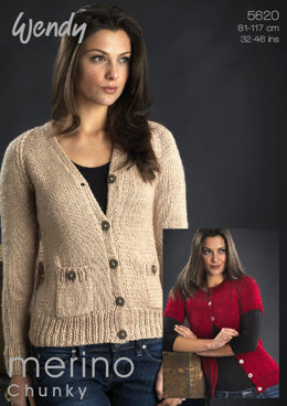 Round and V Neck Cardigans in Wendy Merino Chunky - 5620