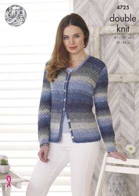 Sweater and Cardigan in King Cole DK - 4725 - Downloadable PDF