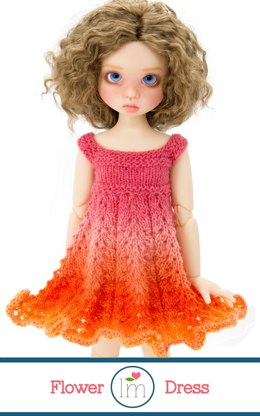 Flower Dress for 18 inch msd bjd dolls by Kaye Wiggs. Doll Clothes Knitting Pattern.