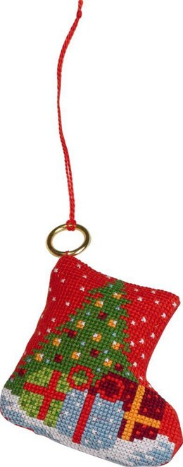 Permin Christmas Stocking Ornament Cross Stitch Kit - 7cm x 8cm