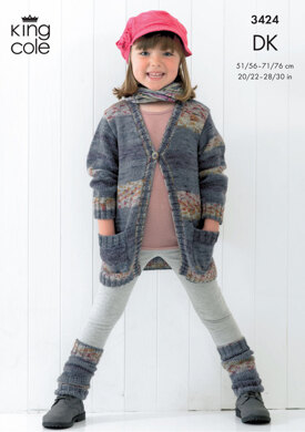 V Neck Cardigan in King Cole Splash DK - 3424