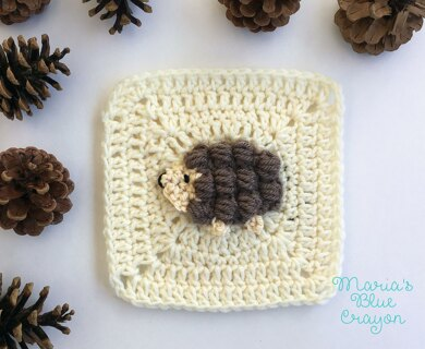 Woodland hedgehog applique granny square crochet pattern by