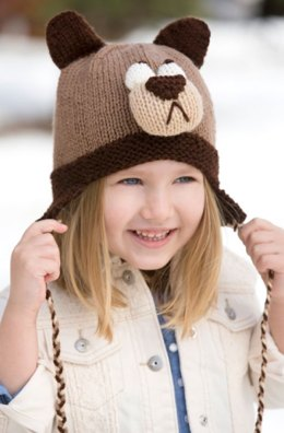 Bashful Bear Hat in Red Heart Super Saver Economy Solids - LW4245