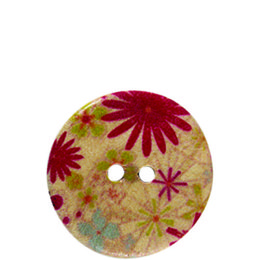 Spring Flower Wood 20mm 2-Hole Button
