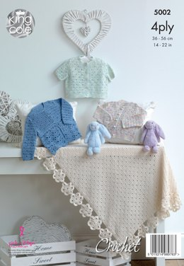 Matinee Jackets, Caridgans & Shawl in King Cole Giza Cotton Sorbet 4ply - 5002 - Leaflet