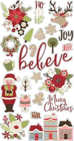 "Simple Stories Holly Jolly Chipboard Stickers 6""X12"" - 600401"