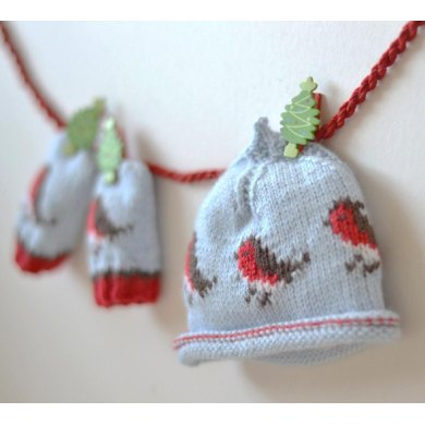 Baby Beanie And Baby Mittens Christmas Robins Bundle Offer Knitting