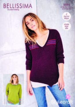 Asymmetric Hem Sweaters in Stylecraft Bellissima - 9584 - Downloadable PDF